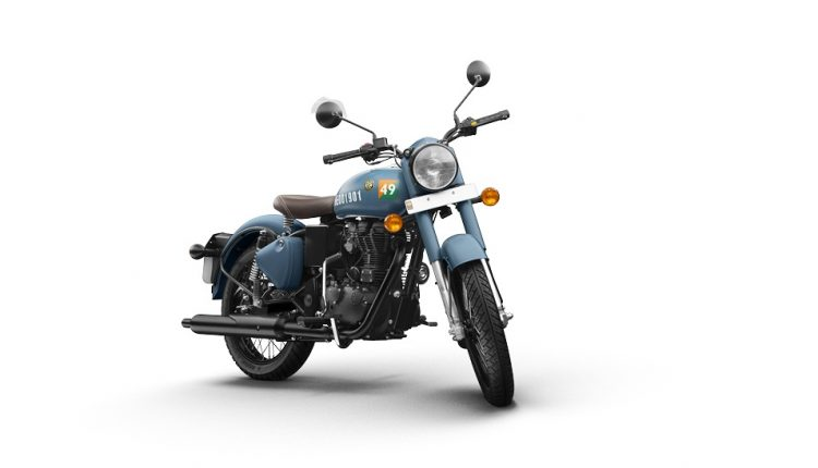 Royal Enfield Signals Airborne Blue Front Shot