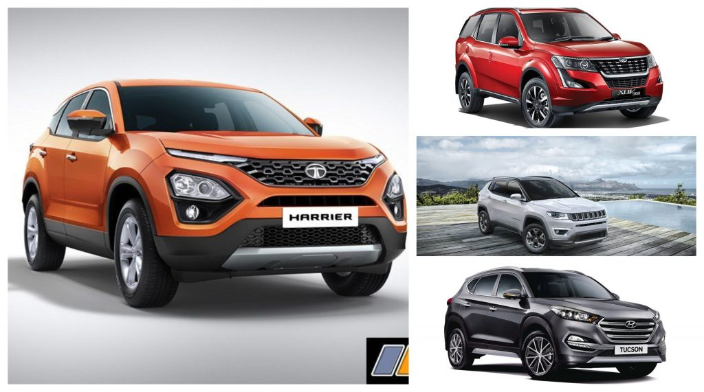 Harrier XZ VS XUV500 W11 (O) VS Compass Limited Plus VS Creta SX (O) VS Tucson Base