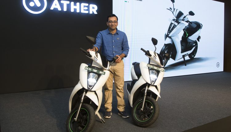 Tarun Mehta, CEO & Co-founder, Ather Energy at the Ather 450 launch in Chennai