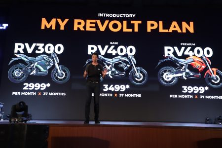 Rahul Sharma, Founder & Chief Revolutionary Officer, Revolt Intellicorp launches India's first AI-enabled motorcycle RV 400 today at Jawaharlal Nehru Stadium, New Delhi..