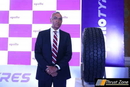 Satish Sharma, President, Asia Pacific, Middle East & Africa (APMEA), Apollo Tyres Ltd at the launch of Apterra AT2 tyres