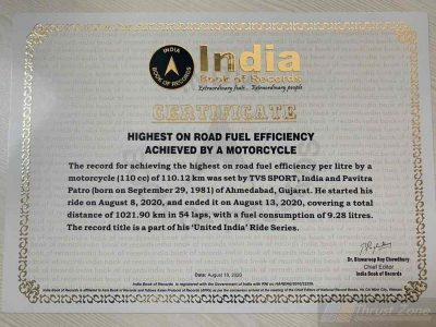 TVS Sport India Book of Records