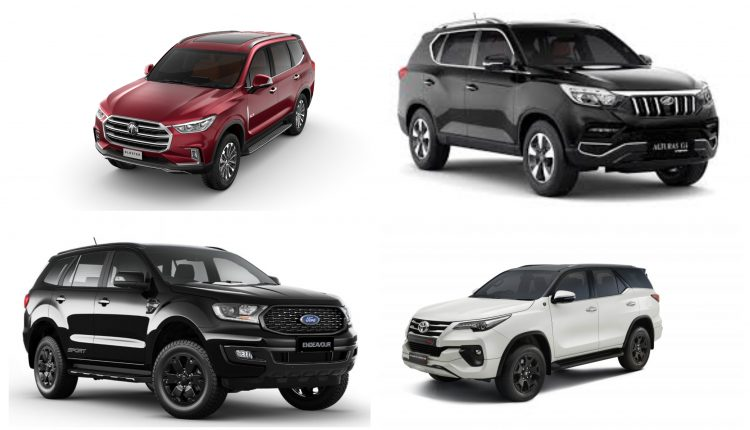 MG Gloster vs Toyota Fortuner vs Ford Endeavour vs Mahindra Alturas G4 Specification Comparison