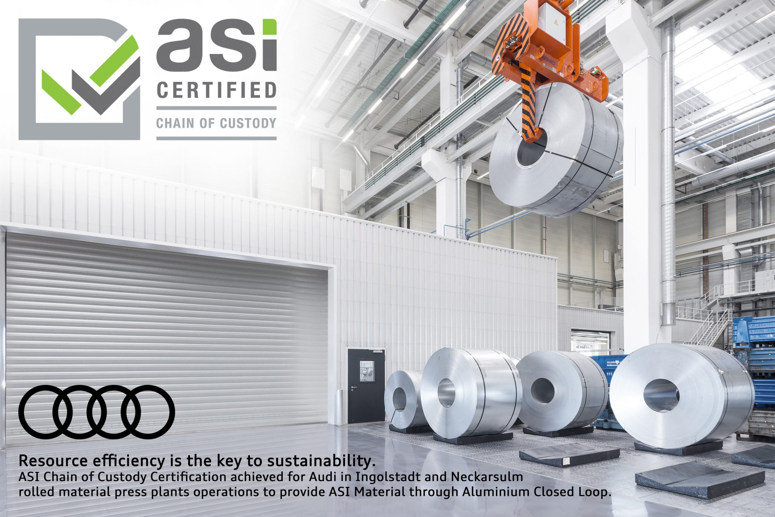 Audi Awarded Chain of Custody Certificate Of The Aluminium Stewardship Initiative