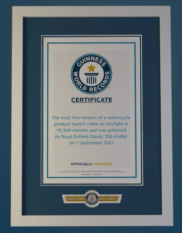 Royal Enfield Enters Guinness World Records For Highest Live Viewership