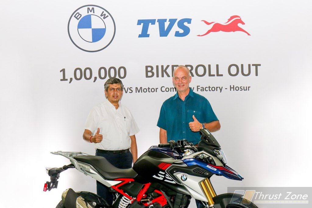 TVS Rolls Out of One Hundred Thousand Unit of BMW Motorrad's 310cc Series Of Motorcycle!