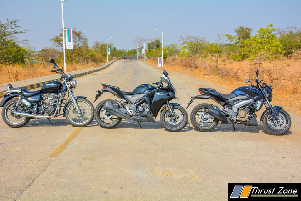 bajaj-dominar-400-vs-royal-enfield-thunderbird-350-vs-cbr-250r-3